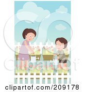 Boy And Mom Watering Their Flower Garden