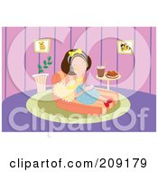 Royalty Free RF Clipart Illustration Of A Woman Relaxing At Home And Listening To Music by mayawizard101