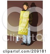 Royalty Free RF Clipart Illustration Of A Homless Man Standing With A Give Me Some Food Sign by mayawizard101