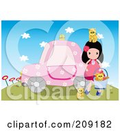 Girl Playing With Kittens By A Pink Car