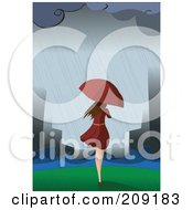 Woman With An Umbrella Walking Towards A Flooded City