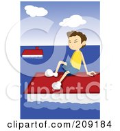 Royalty Free RF Clipart Illustration Of A Boy Waiting To Be Rescued From A Flood