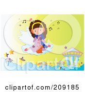 Royalty Free RF Clipart Illustration Of A Little Girl And Cat Floating On A Cloud And Listening To Music by mayawizard101
