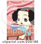 Royalty Free RF Clipart Illustration Of A Toddler Girl Eating An Ice Cream Sundae by mayawizard101