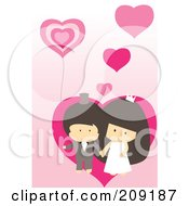 Royalty Free RF Clipart Illustration Of A Cute Wedding Couple With Pink Hearts And A Balloon by mayawizard101