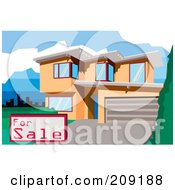 Royalty Free RF Clipart Illustration Of A For Sale Sign By A Multi Story Modern House by mayawizard101