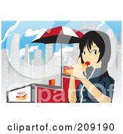 Royalty Free RF Clipart Illustration Of An Asian Girl Eating A Hot Dog By A Cart In The City by mayawizard101