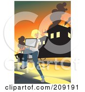 Royalty Free RF Clipart Illustration Of A Girl Carrying Her Computer And Running From A Blazing House by mayawizard101