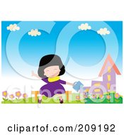 Royalty Free RF Clipart Illustration Of A Girl Sitting On A Bench And Watering Flowers by mayawizard101