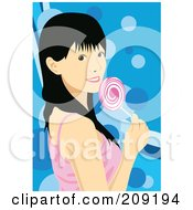 Black Haired Woman Holding A Pink Lolipop