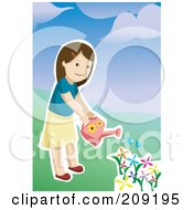 Royalty Free RF Clipart Illustration Of A Girl Watering A Garden Of Colorful Flowers