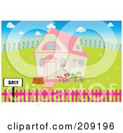 Royalty Free RF Clipart Illustration Of A For Sale Sign By A House With A Pink Roof