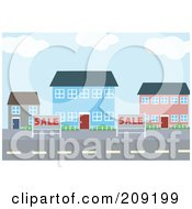 Royalty Free RF Clipart Illustration Of For Sale Signs By Village Buildings