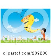 Royalty Free RF Clipart Illustration Of A Boy Singing Music In A Field By A Village