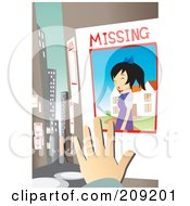Hand Posting A Missing Girl Sign In A City