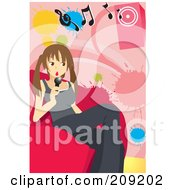 Royalty Free RF Clipart Illustration Of A Teen Girl Sitting On A Couch And Singing Karaoke