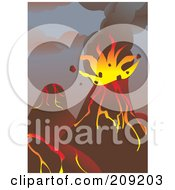Royalty Free RF Clipart Illustration Of A Bursting Volcano