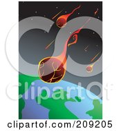 Royalty Free RF Clipart Illustration Of Fiery Meteors Flying Towards Earth by mayawizard101