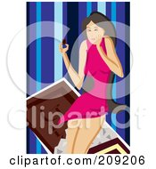Royalty Free RF Clipart Illustration Of A Woman Eating Sweet Chocolate