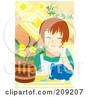 Royalty Free RF Clipart Illustration Of A Woman With An Elephant Watering Can By Potted Flowers by mayawizard101