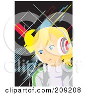 Royalty Free RF Clipart Illustration Of A Little Girl Earing Music Headphones by mayawizard101