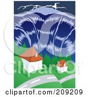 Tsunami Wave Towering Over Homes