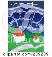 Tsunami Wave Towering Over Homes