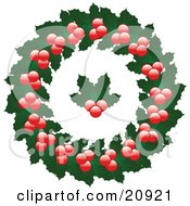 Clipart Illustration Of A Christmas Wreath Made Of Holly Leaves And Berries With Holly In The Center Over A White Background by elaineitalia