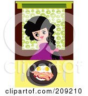 Royalty Free RF Clipart Illustration Of A Happy Girl With A Plate Of Eggs And Bacon