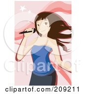 Female Karaoke Singer In A Blue Dress