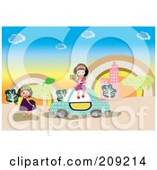 Royalty Free RF Clipart Illustration Of Two Tourist Girls By A Car Taking Pictures With Cameras by mayawizard101