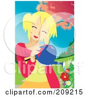 Royalty Free RF Clipart Illustration Of A Happy Blond Woman Watering A Flower Garden by mayawizard101