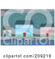 Royalty Free RF Clipart Illustration Of A Flooding Village