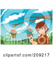 Royalty Free RF Clipart Illustration Of A Boy Watering Flowers In Hanging Planters