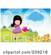 Girl Watering Her Mushroom Garden