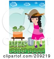 Girl Watering Lettuce In Her Garden