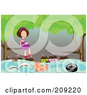 Royalty Free RF Clipart Illustration Of Items Floating Under A Girl In A Tree During A Flood by mayawizard101
