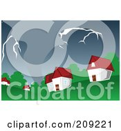 Royalty Free RF Clipart Illustration Of A Stormy Tornado Nearing Houses