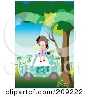 Royalty Free RF Clipart Illustration Of A Girl Sitting On A Car And Eating Ice Cream by mayawizard101
