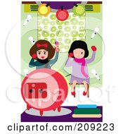 Royalty Free RF Clipart Illustration Of Two Little Girls Having Fun While Singing Karaoke by mayawizard101