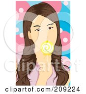 Royalty Free RF Clipart Illustration Of A Brunette Woman Licking A Yellow Lolipop