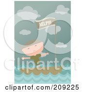 Royalty Free RF Clipart Illustration Of A Sad Boy In A Boat With A Help Flag by mayawizard101