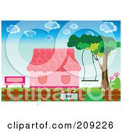 Royalty Free RF Clipart Illustration Of A For Sale Sign By A Pink House