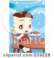 Royalty Free RF Clipart Illustration Of A Toddler Boy Eating An Ice Cream Sundae by mayawizard101