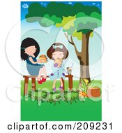 Royalty Free RF Clipart Illustration Of Two Girls Eating A Picnic Lunch In A Park by mayawizard101
