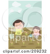 Royalty Free RF Clipart Illustration Of A Girl And Dad Planting And Watering Flowers In A Garden by mayawizard101