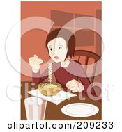 Girl Eating Ramen Noodles At A Table