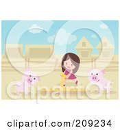 Royalty Free RF Clipart Illustration Of A Girl Pouring Food In A Box For Pigs