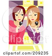 Royalty Free RF Clipart Illustration Of Two Teen Girls Singing Karaoke by mayawizard101