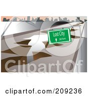 Royalty Free RF Clipart Illustration Of An Earthquake Fault Crack And Sign To The Lost City by mayawizard101